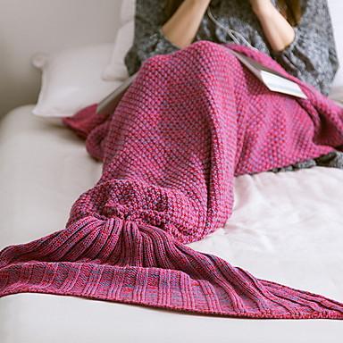 halpa Peitteet ja koristetyynyt-käsintehty neulottu kodinsisustus merenneito hännän viltti superpehme sänky käsintehty virkkaus anti-pilleri kannettava viltti syksyllä