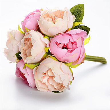 פרחים מלאכותיים 7 ענף קלאסי חתונה פרחי חתונה אדמוניות פרחים נצחיים פרחים לשולחן