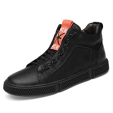 בגדי ריקוד גברים נעלי עור עור נאפה Leather חורף ספורטיבי / יום יומי נעלי ספורט הליכה שמור על חום הגוף לבן / שחור