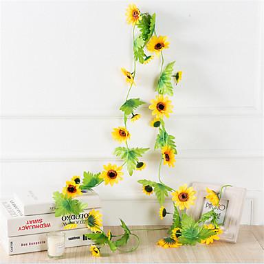 פרחים מלאכותיים 1 ענף קלאסי להתקנה על הקיר מוּשׁהֶה מודרני עכשווי פסטורלי סגנון חמניות פרחים לקיר