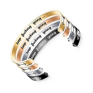 voordelige Herensieraden-Heren Dames Cuff armbanden Klassiek Letter Statement Stijlvol Punk modieus Rock Titanium Staal Armband sieraden Zwart / Zilver / Goud Rose Voor Feest Lahja Dagelijks Club Belofte