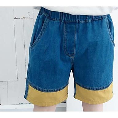 baratos Calças para Meninos-Bébé Para Meninos Básico Boho Estampa Colorida Estampado Algodão Jeans Azul