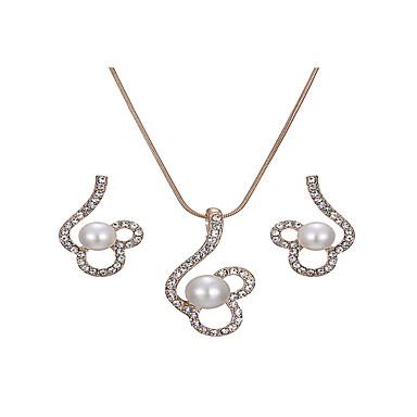 levne Dámské šperky-Dámské Bílá Svatební šperky Soupravy Link / řetězec Botanický motiv Lahůdka Jednoduchý Elegantní Napodobenina perel Štras Náušnice Šperky Zlatá Pro Vánoce Svatební Párty Zásnuby Dar 1 sada