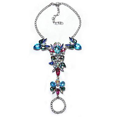abordables Bracelet-Bracelet en cristal Femme Géométrique Multicolore Imitation Diamant Bonbon Gros Fantaisie Elégant Européen Bracelet Bijoux Noir Argent Arc-en-ciel Forme Géométrique pour Quotidien