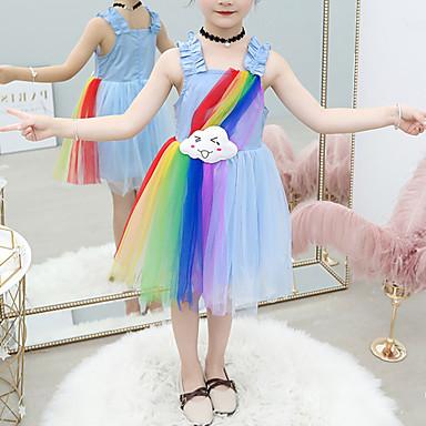 baratos Vestidos para Meninas-Infantil Bébé Para Meninas Doce Estilo bonito Branco Estampa Colorida Retalhos Frente Única Pregueado Com Transparência Sem Manga Altura dos Joelhos Vestido Azul / Algodão