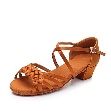 בנות נעלי ריקוד סטן נעליים לטיניות עקבים עקב עבה מותאם אישית שחור / חום / קאמל / הצגה / עור