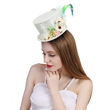 お買い得  パーティー用ヘッドピース-ポリエステル / シルク / 羽毛 帽子 とともに フェザー / フラワー / 編みひも 1個 結婚式 / パーティー/フォーマル かぶと