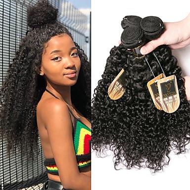 baratos Extensões de Cabelo Natural-4 pacotes Cabelo Brasileiro Kinky Curly Cabelo Virgem Cabelo Humano Ondulado Cabelo Bundle Extensões de Cabelo Natural 8-28 polegada Côr Natural Tramas de cabelo humano Mini Sedoso Melhor qualidade