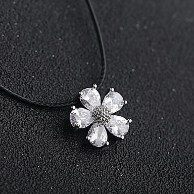 billige Halskjeder-Dame Sølv Kubisk Zirkonium Anheng Halskjede Blomst Zirkonium Sølv 36 cm Halskjeder Smykker 1pc Til Jul Bryllup