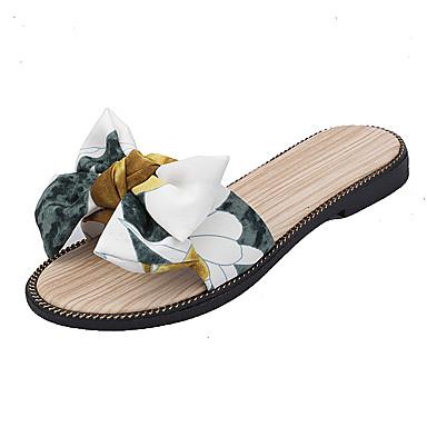 voordelige Damespantoffels & slippers-Dames Slippers & Flip-Flops Platte hak PU / Elastische stof Zomer Beige / Rood / Groen