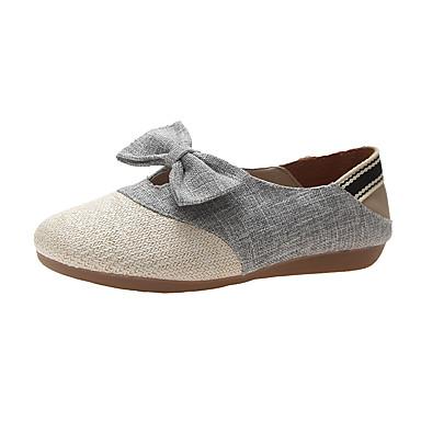 povoljno Ženske cipele-Žene Lan Ljeto Ravne cipele Ravna potpetica Bež / Sive boje