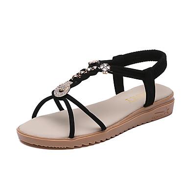 baratos Super Ofertas-Mulheres Sandálias Salto Plataforma Microfibra / Couro Ecológico Verão Preto / Bege / Festas & Noite