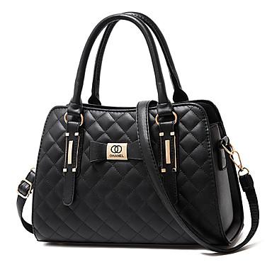 저렴한 가방-여성용 지퍼 / 태슬 우레탄 / PU 탑 핸들 백 한 색상 블랙 / 와인 / 화이트 / 가을 겨울