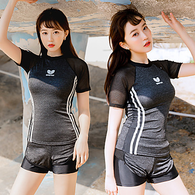 בגדי ריקוד נשים שני בגד ים אלסטיין בגדי ים הגנה מפני השמש UV ייבוש מהיר שרוולים קצרים 2חלקים - שחייה טלאים אביב קיץ / גמישות גבוהה