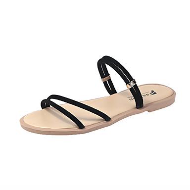 baratos Super Ofertas-Mulheres Sandálias Sem Salto Couro Ecológico Verão Preto / Bege
