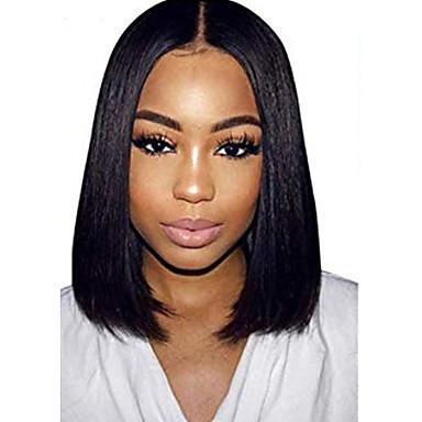 שיער אנושי חזית תחרה פאה חלק אמצעי בסגנון שיער ברזיאלי ישר שחור פאה 130% צפיפות שיער נשים בגדי ריקוד נשים קצר אחרים Clytie