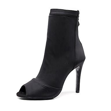 baratos Shall We® Sapatos de Dança-Mulheres Tecido elástico Botas de Dança Corrente Salto Salto Alto Magro Preto / Vermelho / Azul