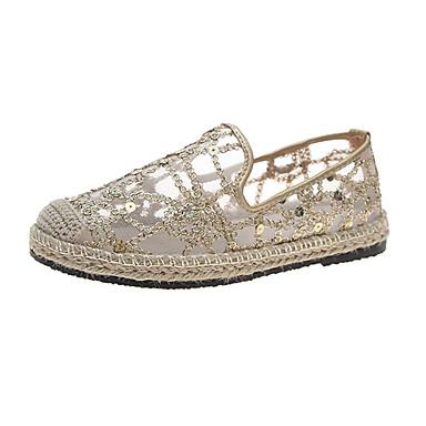 בגדי ריקוד נשים נעליים ללא שרוכים שטוח תחרה קיץ זהב / כסף