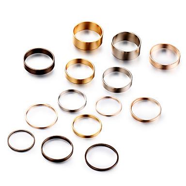 בגדי ריקוד נשים טבעת הגדר זירקונה מעוקבת 14pcs זהב סגסוגת מעגלי ארופאי חתונה תכשיטים חמוד