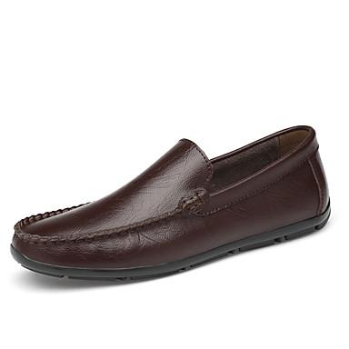בגדי ריקוד גברים נעלי עור עור אביב קיץ / סתיו חורף עסקים / יום יומי נעליים ללא שרוכים הליכה ללא החלקה שחור / חום