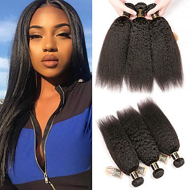 baratos Extensões de Cabelo Natural-3 pacotes Cabelo Brasileiro Kinky Liso 100% Remy Hair Weave Bundles Cabelo Humano Ondulado Cabelo Bundle Um Pacote de Solução 8-28 polegada Côr Natural Tramas de cabelo humano Sem Cheiros Melhor