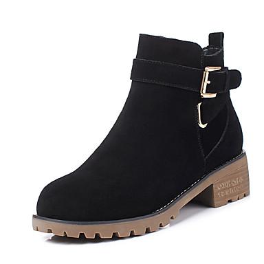 voordelige Dameslaarzen-Dames Britse stijl geruite schoenen Nappaleer Herfst winter Klassiek / Brits Laarzen Blok hiel Ronde Teen Korte laarsjes / Enkellaarsjes Gesp Zwart