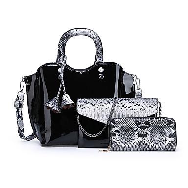 preiswerte Taschen-Damen Knöpfe Bag Set Wasserdicht Lackleder Schlangenhaut 3 Stück Geldbörse Set Rote / Purpur / Braun