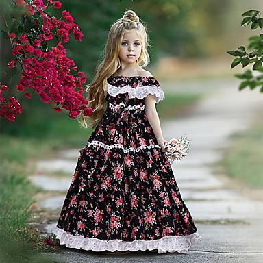 baratos Vestidos para Meninas-Bébé Para Meninas Estilo bonito Boho Geométrica Pregueado Patchwork Estampado Manga Curta Longo Vestido Preto