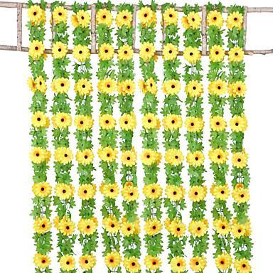 פרחים מלאכותיים 1 ענף קלאסי להתקנה על הקיר אביזרי במה סגנון מינימליסטי חמניות פרחים נצחיים פרחים לקיר