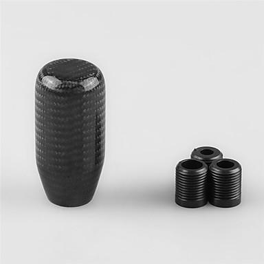 voordelige Auto-interieur accessoires-koolstofvezel handmatige versnellingspook stick versnellingspookknop met 3 adapters universele auto