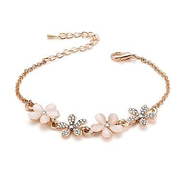 abordables Bracelet-Bracelet Femme 3D Strass Fleur Elégant Classique Bracelet Bijoux Dorée pour Quotidien
