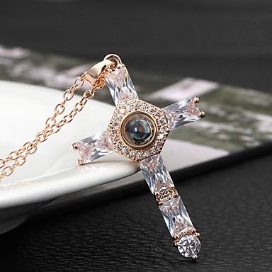 billige Mote Halskjede-Dame Kubisk Zirkonium Anheng Halskjede Kors Mote Chrome Fuskediamant Gull Sølv 40+5 cm Halskjeder Smykker 1pc Til Daglig