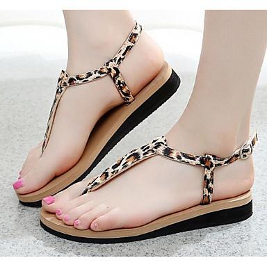 povoljno Ženske sandale-Žene Mikrovlakana Ljeto Sandale Ravna potpetica Obala / Crn / Leopard