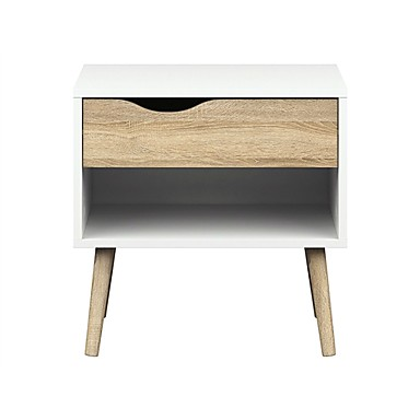 מודרני, אמצע, סגנון, סוף, שולחן, צד, לבן, לבן& גימור עץ אלון