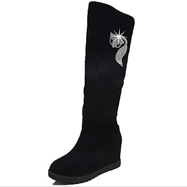 voordelige Dameslaarzen-Dames Polyester Lente Laarzen Platte hak Ronde Teen Over de knie laarzen Zwart