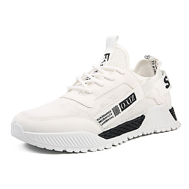 בגדי ריקוד גברים לבש נעליים בד גמיש אביב קיץ ספורטיבי / יום יומי נעלי אתלטיקה ריצה נושם לבן / שחור / שחור וצהוב