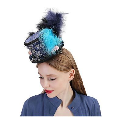 お買い得  パーティー用ヘッドピース-ポリエステル / シルク / 羽毛 帽子 とともに フェザー / フラワー / トリム 1個 結婚式 / パーティー/フォーマル かぶと