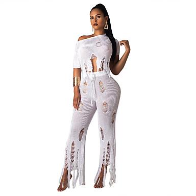 אקזוטי Dancewear תלבושות / לבוש מועדונים בגדי ריקוד נשים הצגה טול / סריגה פרנזים שרוולים קצרים טבעי עליון / מכנסיים