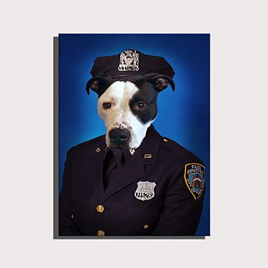 abordables Toiles-e-home toile tendue art série d'animaux mignons - décoration de chien de police peinture un pcs