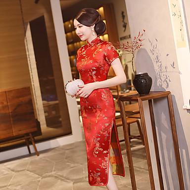 מבוגרים בגדי ריקוד נשים Lady Cheongsam עבור מדים מועדון תערובת פולי / כותנה Midi Cheongsam