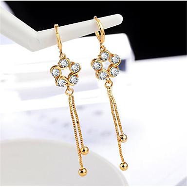 בגדי ריקוד נשים זירקונה מעוקבת עגילי טיפה קלאסי שִׂמְחָה מסוגנן ציפוי זהב עגילים תכשיטים זהב עבור מתנה יומי זוג 1