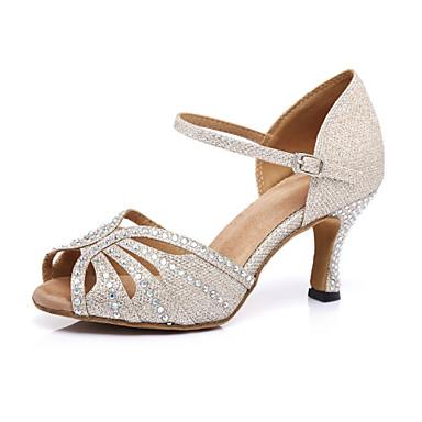 בגדי ריקוד נשים נעלי ריקוד דמוי עור נעליים לטיניות עקבים עקב רחב מותאם אישית זהב / הצגה / אימון