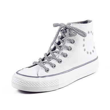בגדי ריקוד נשים קנבס קיץ / אביב קיץ קלסי נעלי ספורט הליכה שטוח בוהן עגולה לבן / שחור