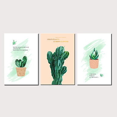 cheap Prints-Print Stretched Canvas Prints - Botanical Modern Three Panels Art Prints