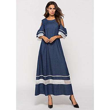 לבוש מסורתי ותרבותי שמלות בגדי ריקוד נשים לבוש יומיומי פוליאסטר מפרק מפוצל חצי שרוול שמלה
