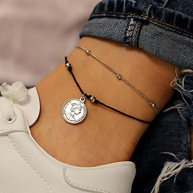 Kadın's Ayak bileği bilezik Madeni para Basit Casual / Sportif Moda Ayak bileziği Mücevher Gümüş Uyumluluk Hediye Günlük Cadde Tatil / 2pcs