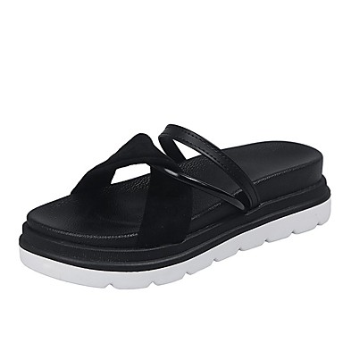 voordelige Damespantoffels & slippers-Dames Slippers & Flip-Flops Slingback Creepers Suède Informeel Zomer Zwart / Khaki