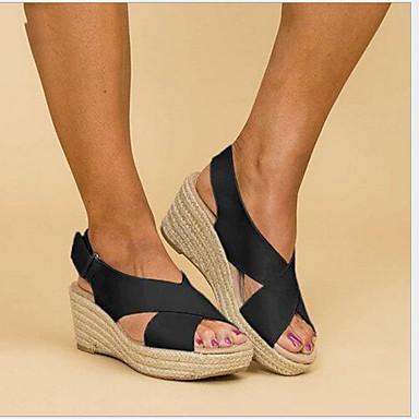 2c0f4ace1b708 Women's Sandals Wedge Heel Peep Toe Ribbon Tie Microfiber Spring & Fall  White / Black / Khaki