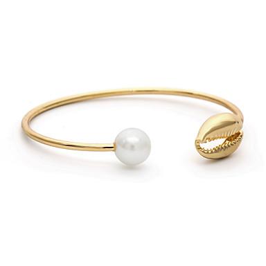 baratos Bangle-Mulheres Bracelete Pulseira Clássico Concha Simples Fashion Cobre Pulseira de jóias Dourado / Prata Para Presente Diário Escola Feriado Trabalho