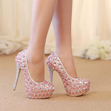 Kadın's Düğün Ayakkabıları Stiletto Topuk Yuvarlak Uçlu Kristal / Işıltılı Pullar PU Vintage / Tatlı İlkbahar & Kış / İlkbahar yaz Pembe / Parti ve Gece / Zıt Renkli